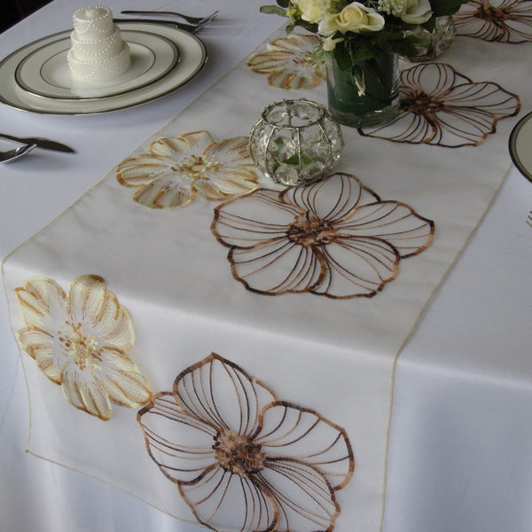 Large Flower Ivory and Brown Embroidrered Table Runner
