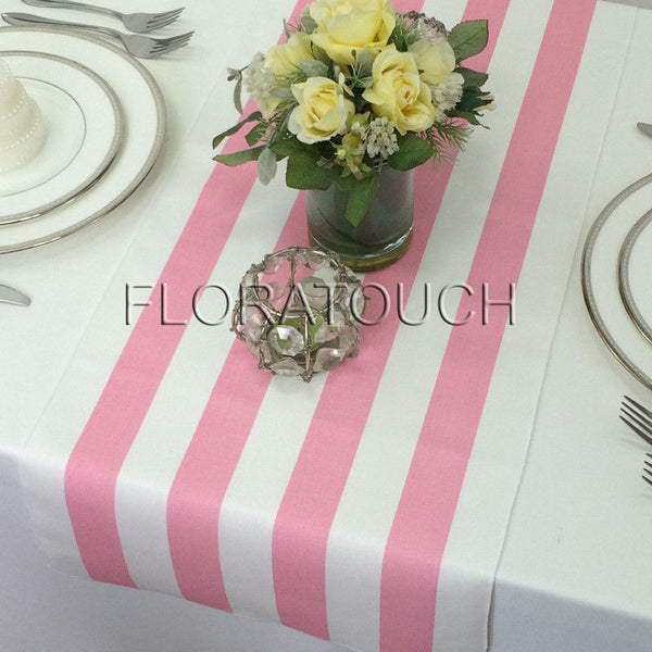 Pink and White Stripe Table Runner with white stripes on the borders
