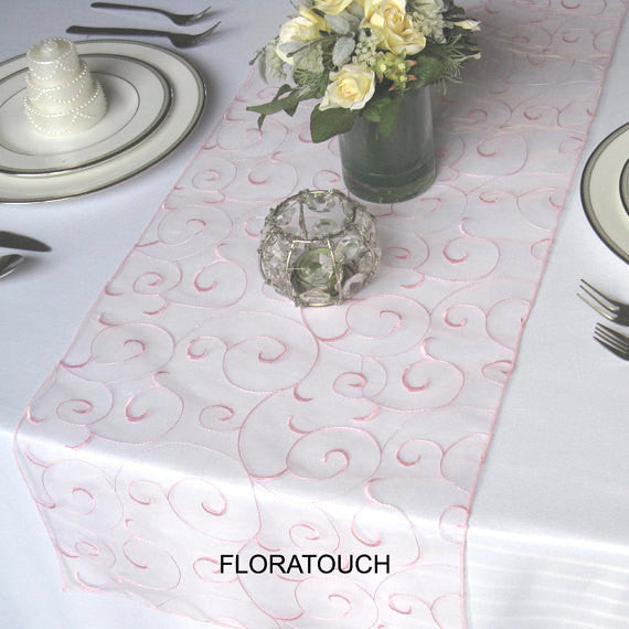 Pink Swirl Organza Table Runner