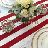 White and Red Stripe Table Runner with white stripes on the borders