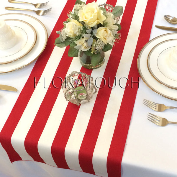 White and Red Stripe Table Runner with red stripes on the borders