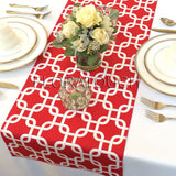 Red and White Chain Link Table Runner
