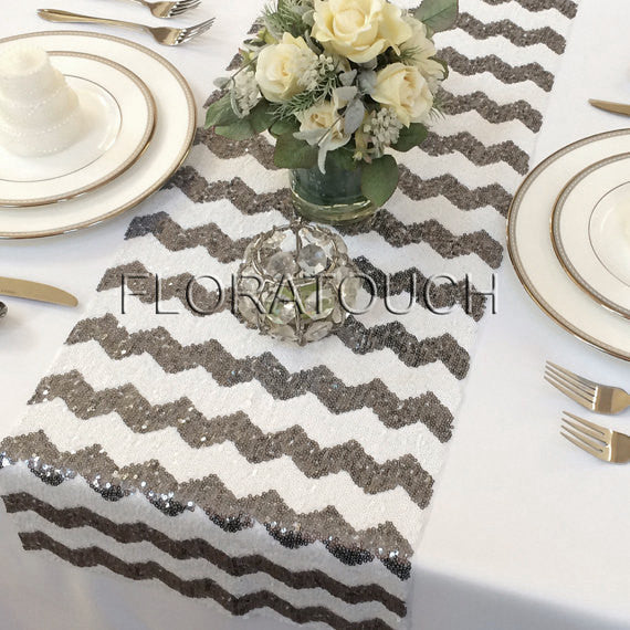 Dark Silver Chevron Sequin Table Runner