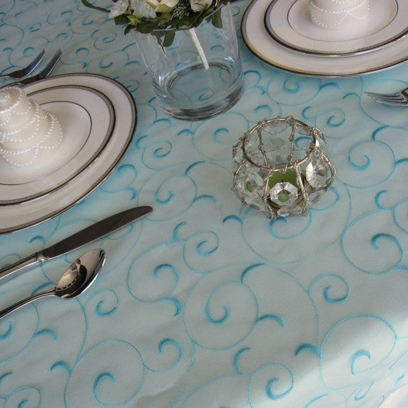 Pool Blue Swirl Organza Tablecloth Table Overlay