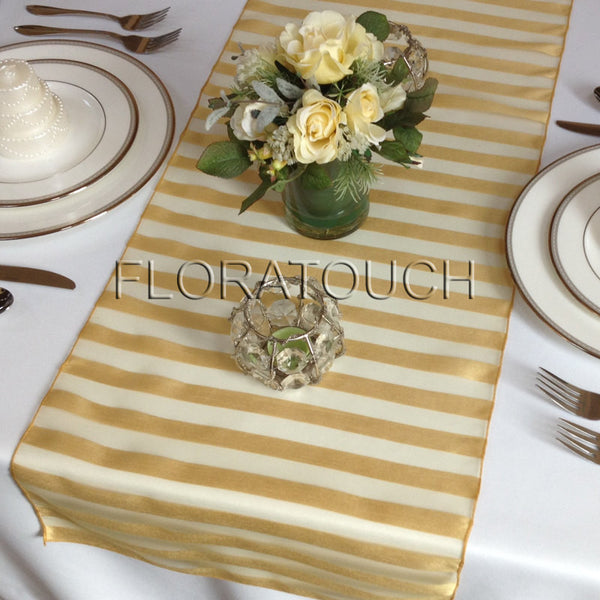Tuxedo Gold Striped Organza Table Runner