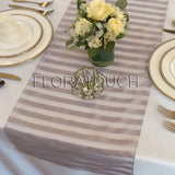 Tuxedo Gray Striped Organza Table Runner