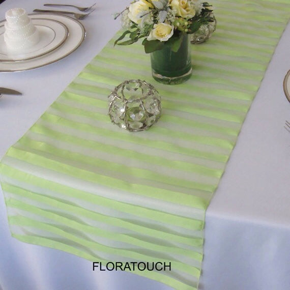 Tuxedo Green Striped Organza Table Runner
