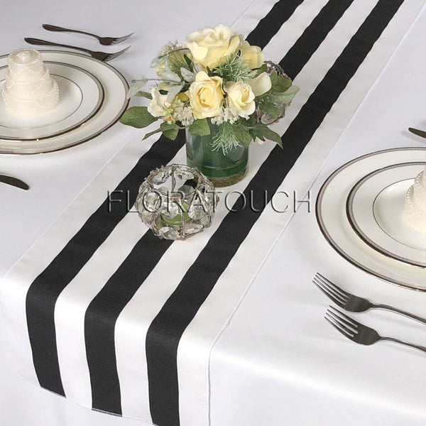 Black and White Striped Table Runner with White Stripes on the Borders 10.5in wide