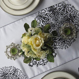 White and Black Medallion Flocked Taffeta Table Runner