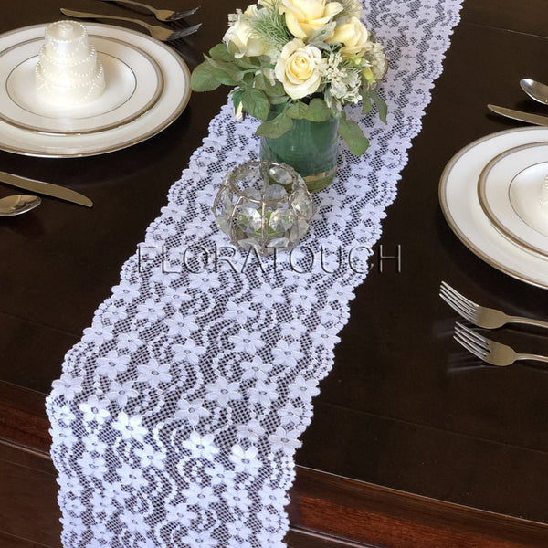 "White Floral Lace Table Runner Wedding Table Runner 9"" wide LW04"