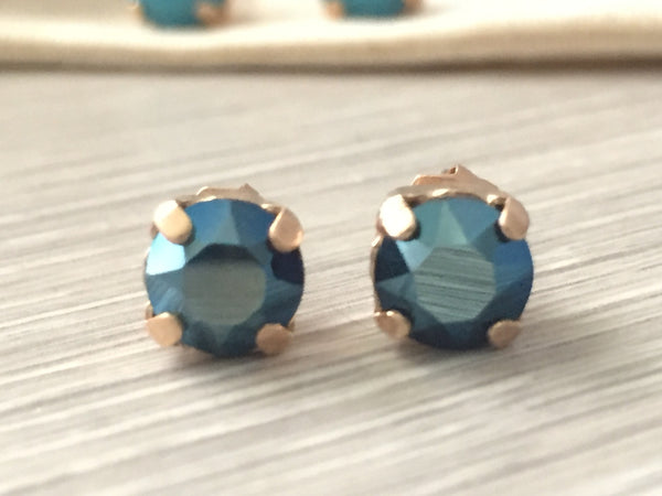 Metallic blue and rose gold studs