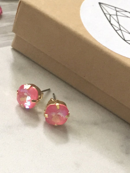 Coral and gold studs