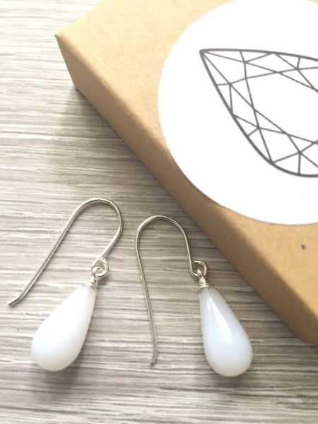 White teardrop vintage crystal tear drop silver earrings