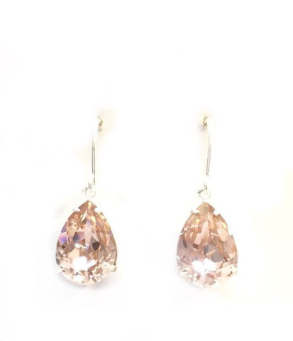 Antique rose crystal and silver drop earrings