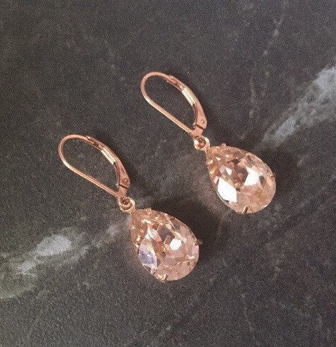 Antique rose crystal and rose gold drop earrings