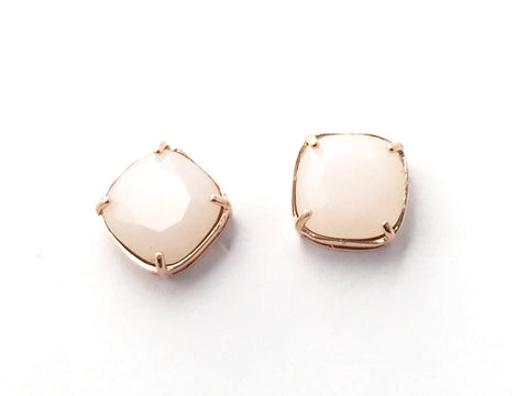 Blush pink and rose gold stud earrings