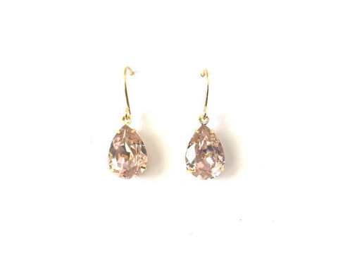 Antique rose crystal and gold drop earrings