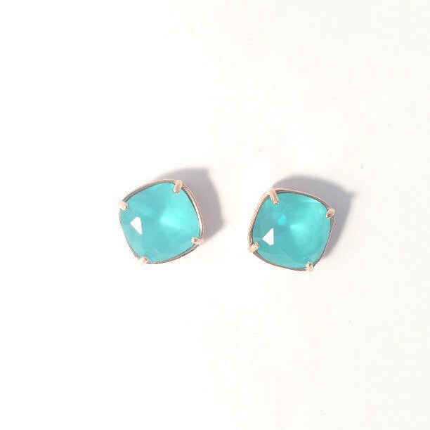 Rose gold aqua crystal studs