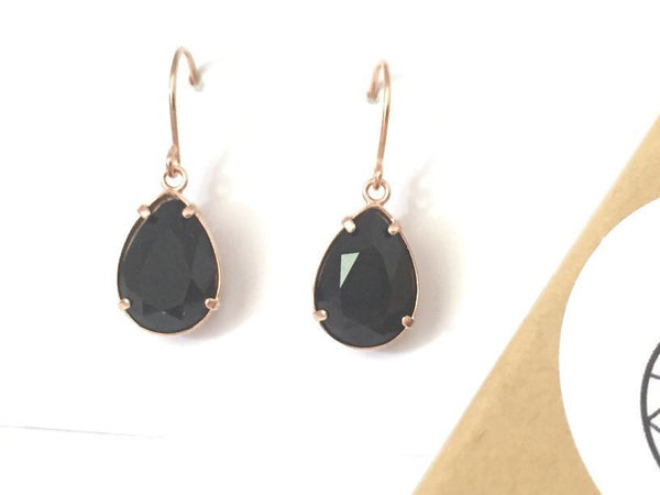 Rose gold & jet black crystal pear drop earrings