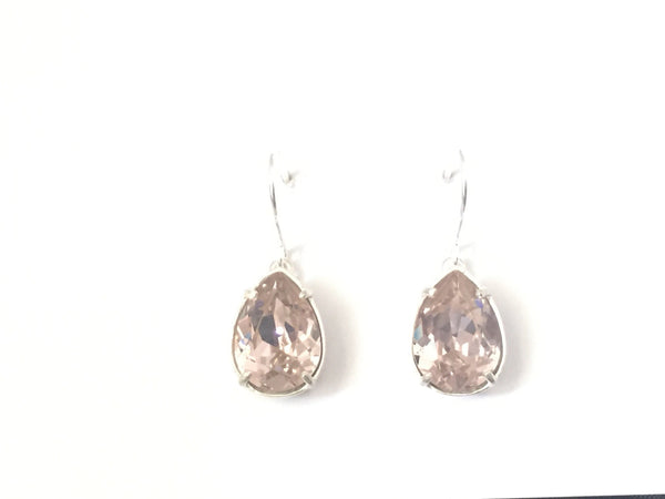 Sterling silver antique rose crystal drops