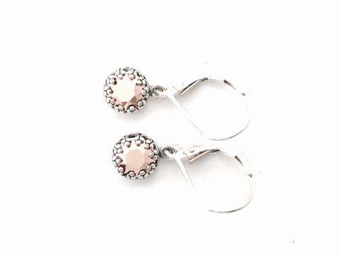 Delicate sterling silver and rose gold drop earrings