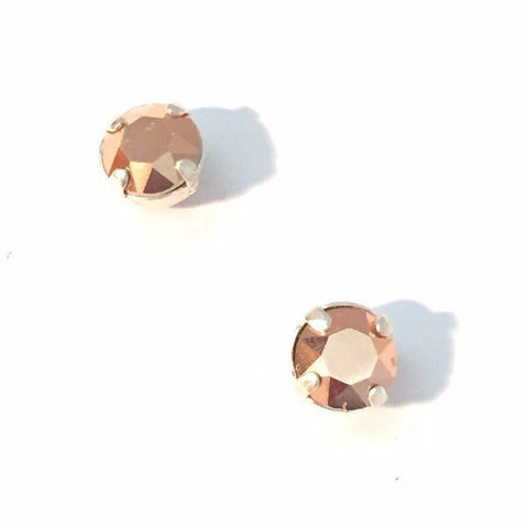 Little metallic rose gold crystal & sterling silver studs