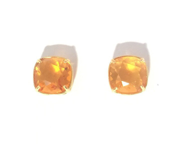 Amber and gold vintage crystal stud earrings