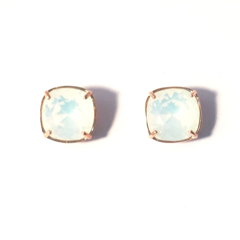 Gold & white opal studs