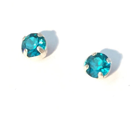 Aqua crystal and sterling silver studs