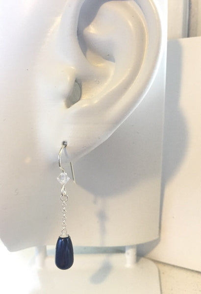 Sterling silver midnight blue sparkle drops