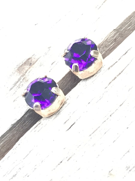 Purple & rose gold studs for MPS Awareness Day