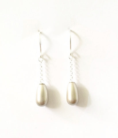 Dainty silver and platinum pearl drops