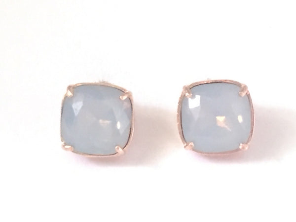 Smoky grey rose gold studs