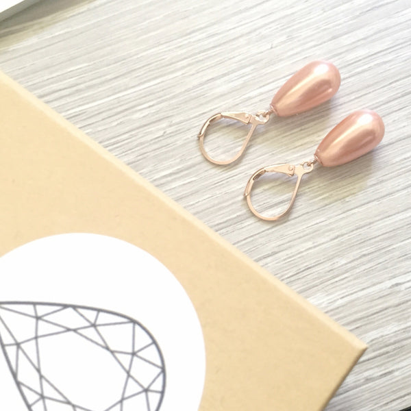 Peach pearl and rose gold drops
