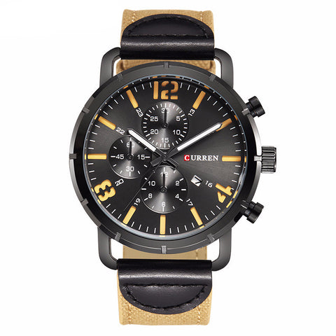 Curren 8194 Elegant Military Watch with Leather Strap