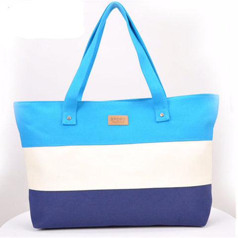 Women Stripes Canvas Shoulder Messenger Bag Summer Beach Handbag