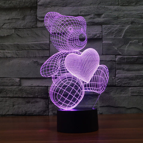 3D Teddy Bear Vision Stereoscopic Light Touch LED Lamp Night Light - UYL Online Store