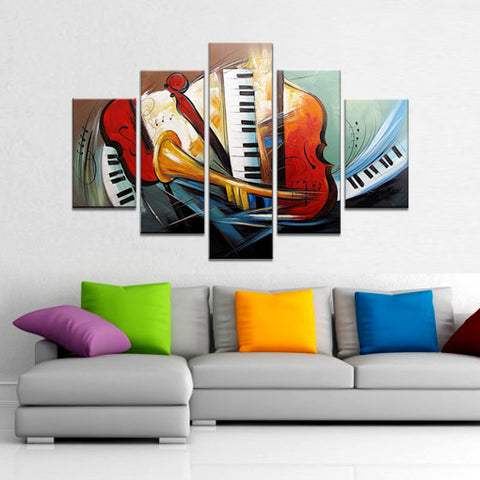 5 Panels Hand-painted Art Fly Wind Music  Wall Art