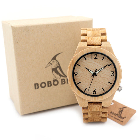 Full Bamboo Wooden Wrist Watch TtopBrand Quartz Wooden Band Luminous Needle With Gift Box