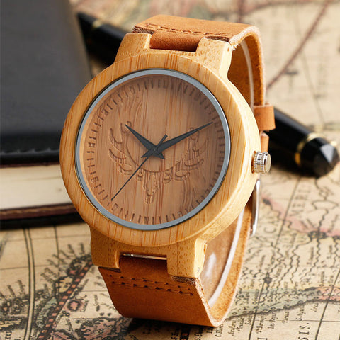 Bamboo Wood Watch Minimalist Cool Deer Head With Genuine Leather Band
