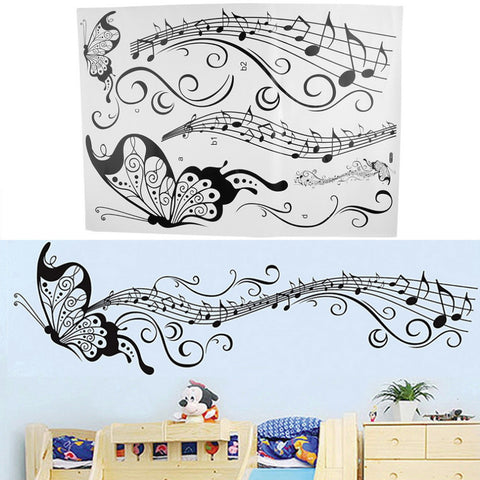 Bedroom Backdrop Combination Monochrome Butterfly Note Pattern Wall Sticker - UYL Online Store
