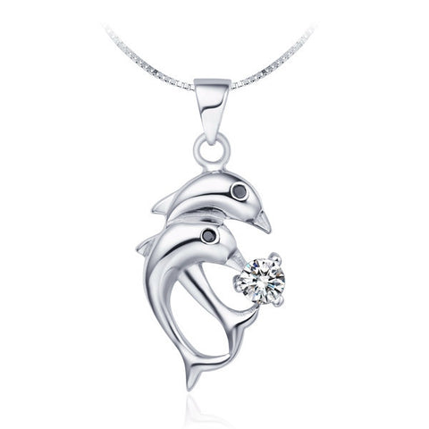 Dolphin Silver Plated Zirconium Pendant Necklace FREE plus Shipping Offer - UYL Online Store