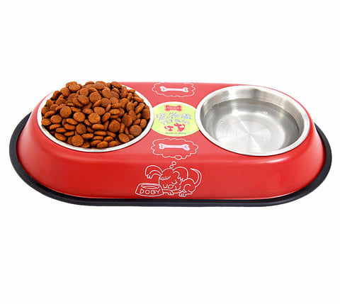 Stainless Steel Big Double Bowl Feeder for Pets