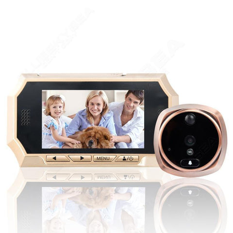 Motion Detection PIR IR Peephole Viewer Doorbell Video Record Camera