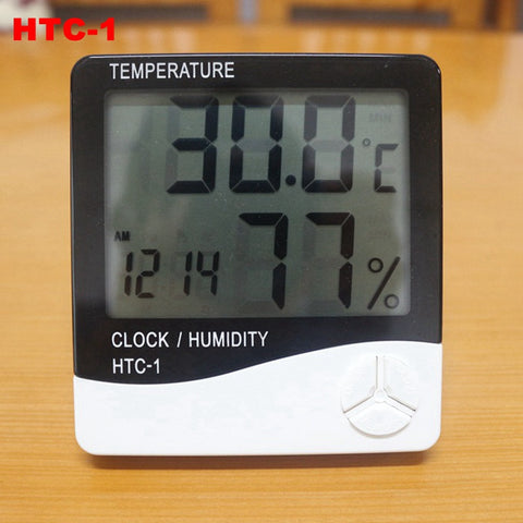 Weather Station Indoor Digital C/F Thermometer Hygrometer Clock LCD Temperature Humidity Meter Monitor for Home