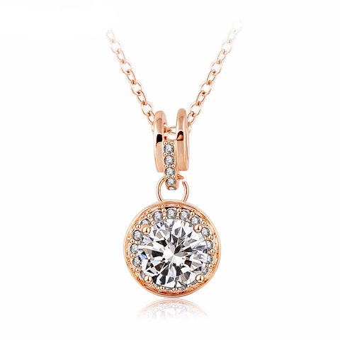 Romantic Style Rose Gold Plated Pendant Necklace