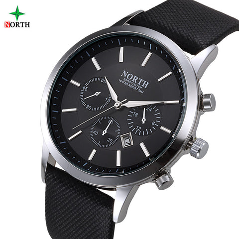 30M Waterproof Men Luxury Fashion Wrist Watch With Casual Genuine Leather Band