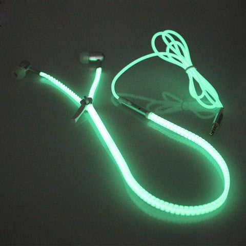 Glow In The Dark Metal Zipper Earphone with Hands-free Mic - UYL Online Store