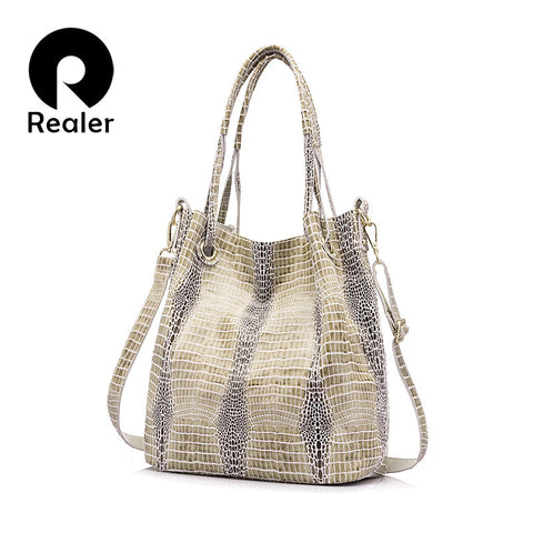 Genuine Leather Shoulder Bag Female Fashion Serpentine Pattern Leather Handbag