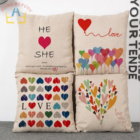 Summer Style Different Heart Design Canvas Pillow Case